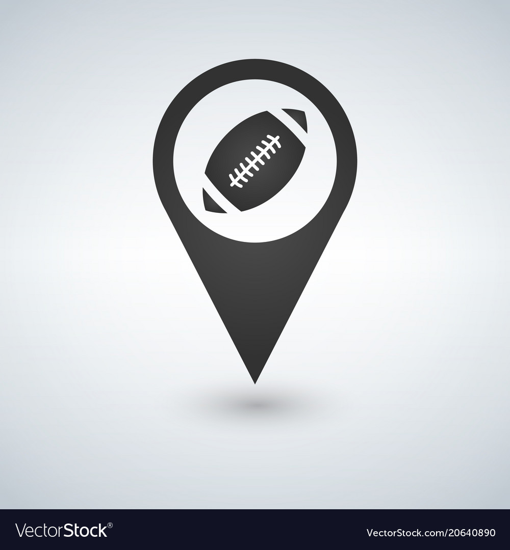 Map pointer with football ball on the white