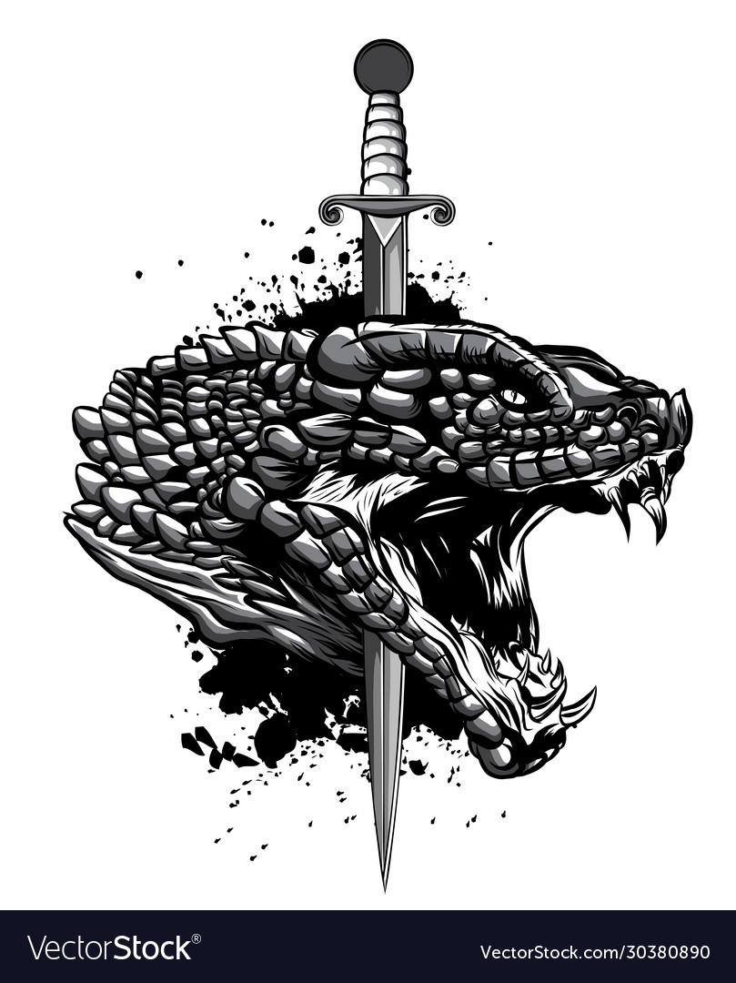 Monochromatic snake and knife old school tattoo