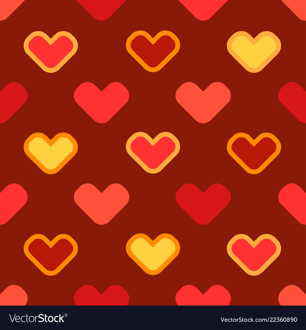 Seamless cartoon background with stylized hearts