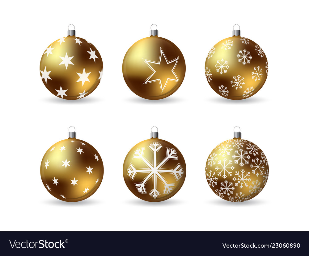 Set 3d christmas balls with winter ornament
