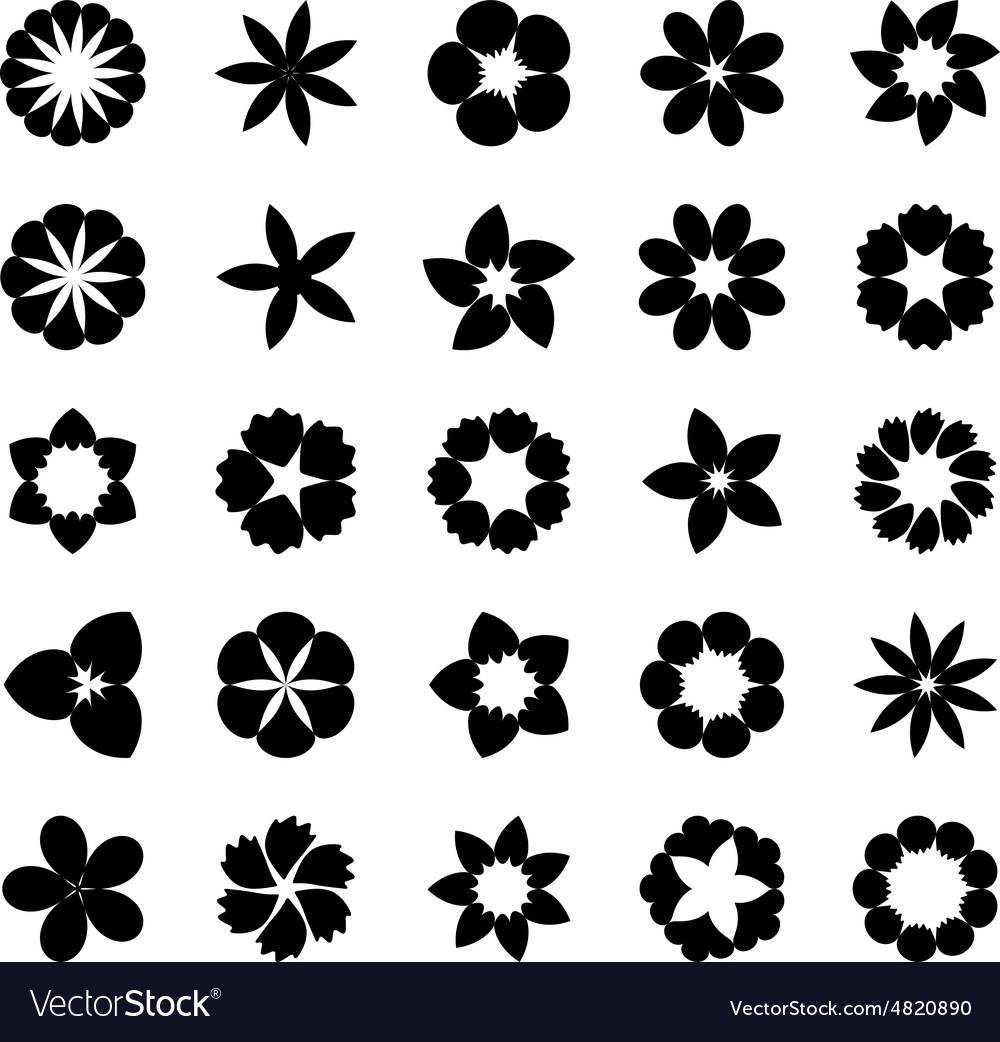 Set flat icon flower