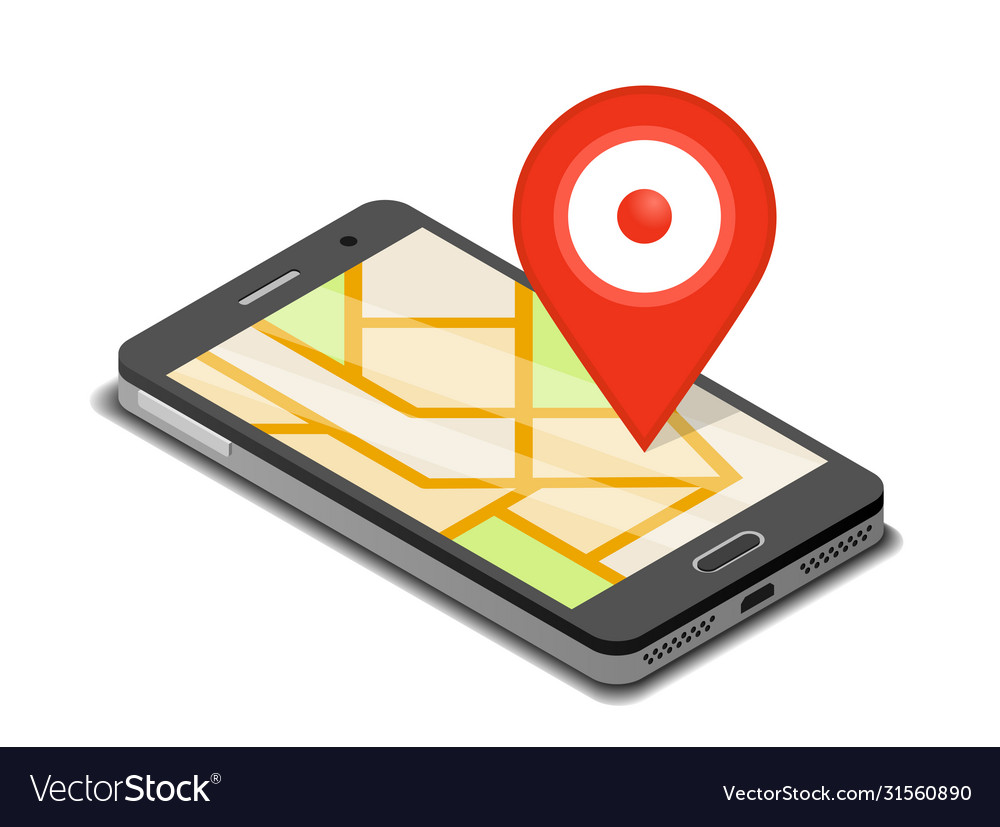 Smartphone mobile navigation app and map pin