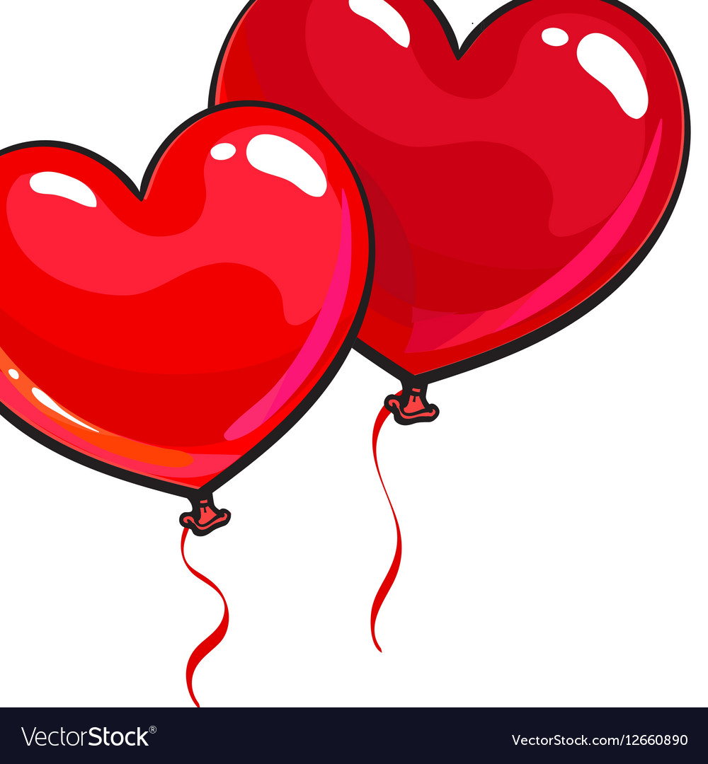 Two bright and colorful heart shaped balloons vector image