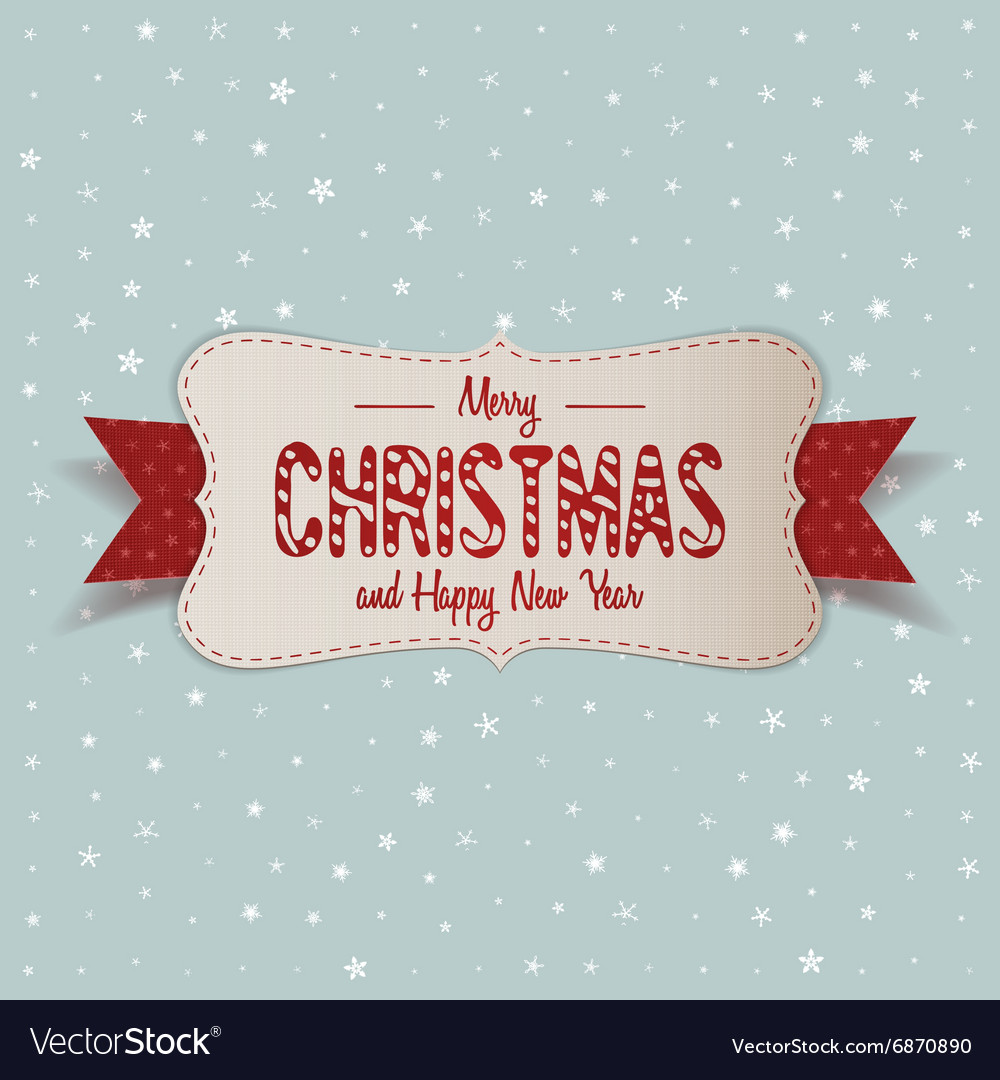 white merry christmas banner with red ribbon vector image - Merry Christmas Banner