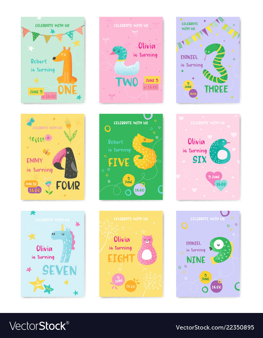 Birthday baby cute cards with animal numbers