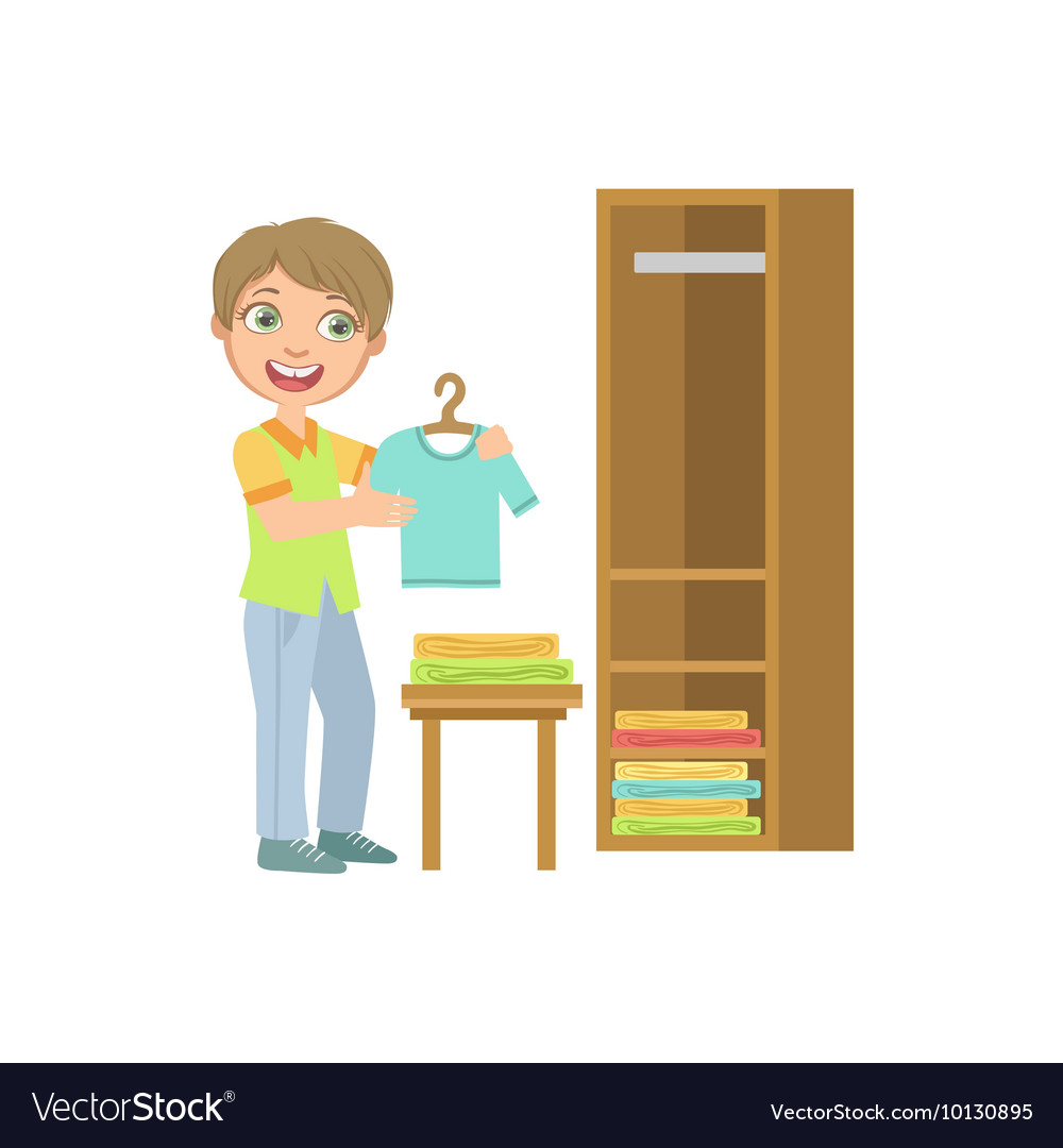 Boy Putting Clean Clothes In Dresser vector image