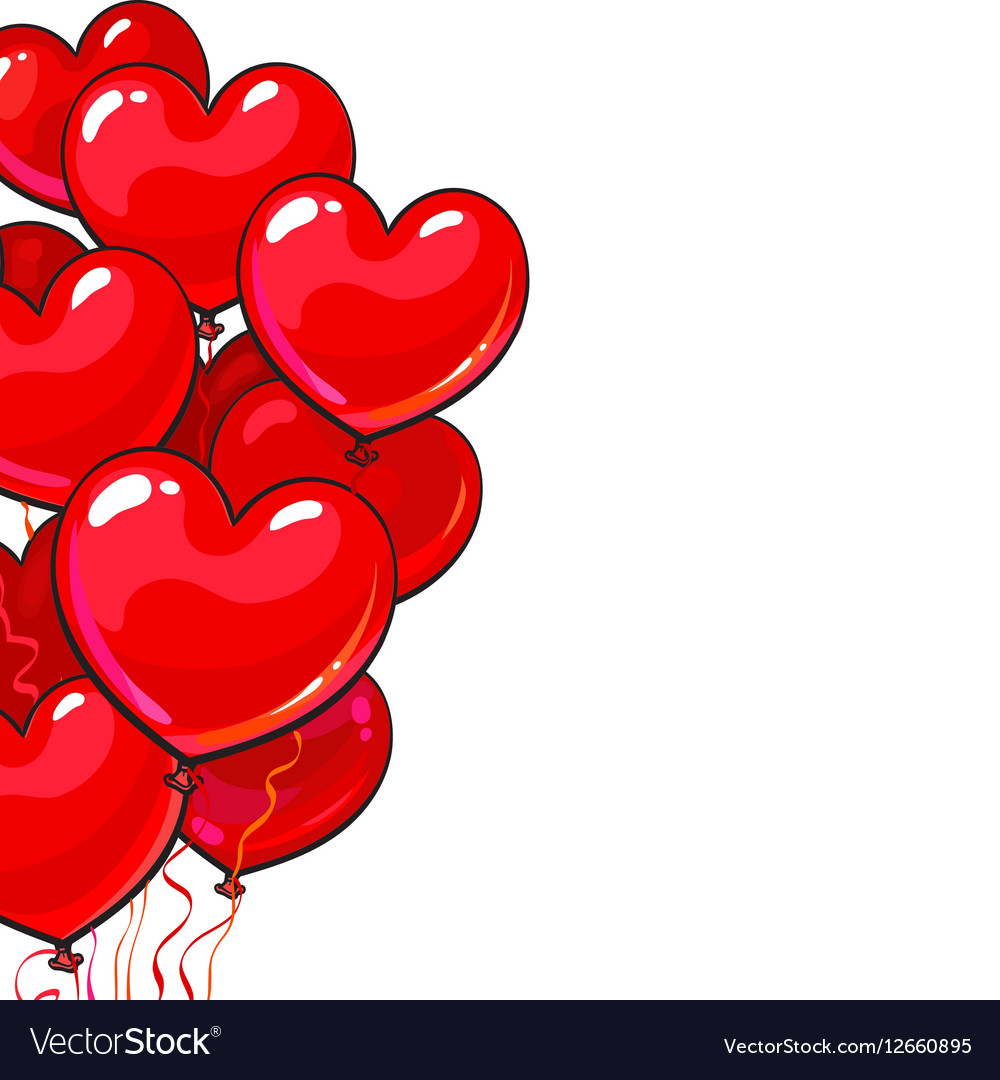 Bunches of bright and colorful glossy heart shaped