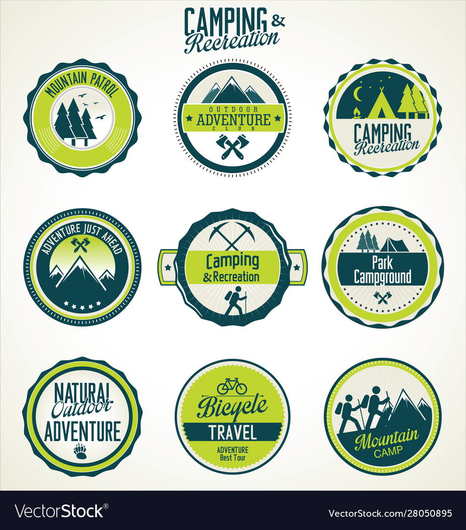 Camping and recreation retro vintage badge