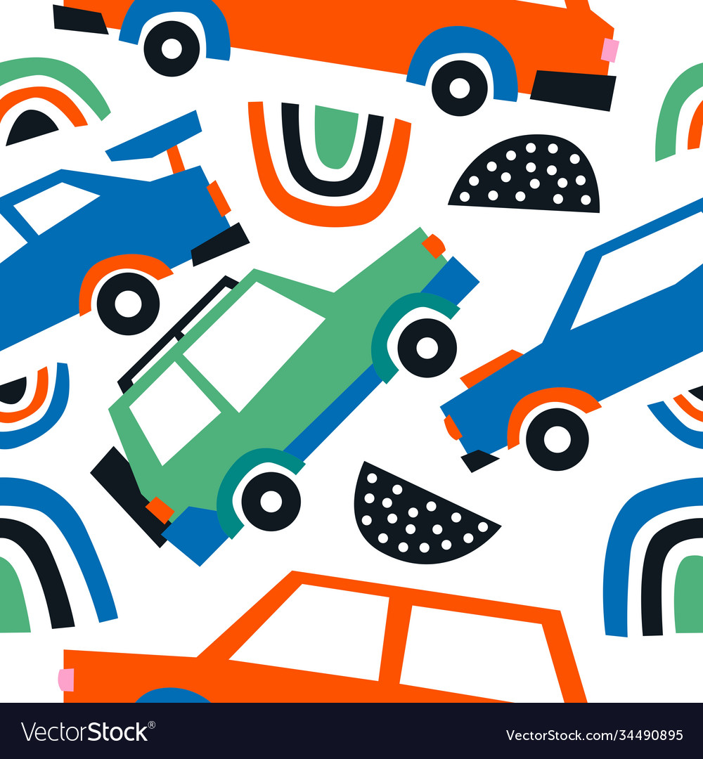 Car abstract shape seamless pattern background