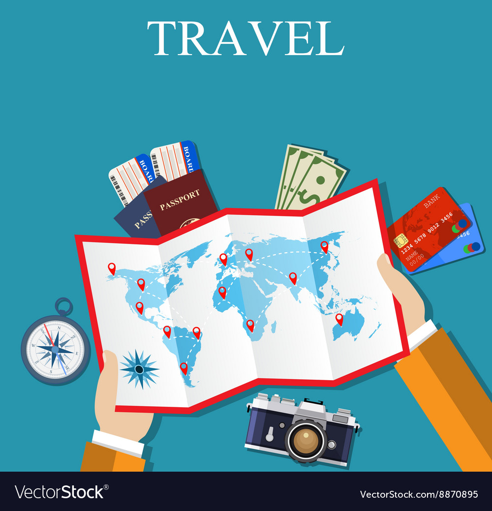 Cartoon hands hold folded paper map of world vector image