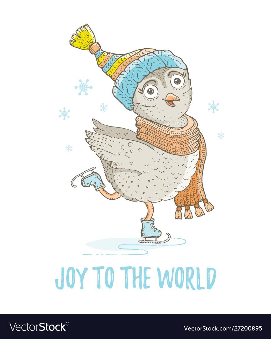 Cute christmas owl bird forest animal merry xmas