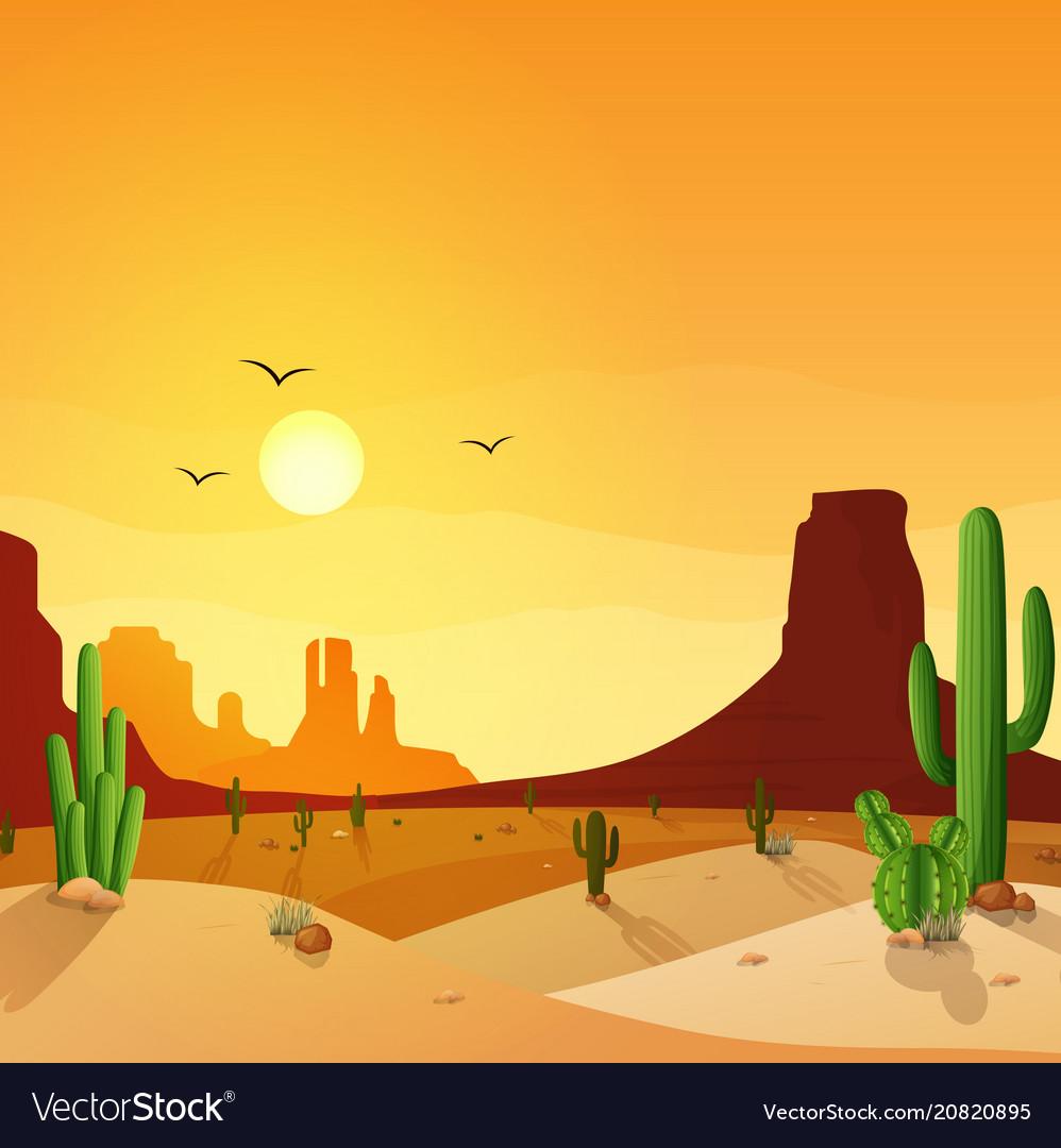 Desert landscape with cactuses