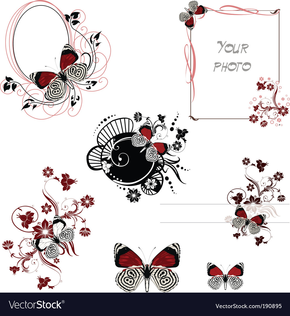 Frames red and white butterfly Royalty Free Vector Image