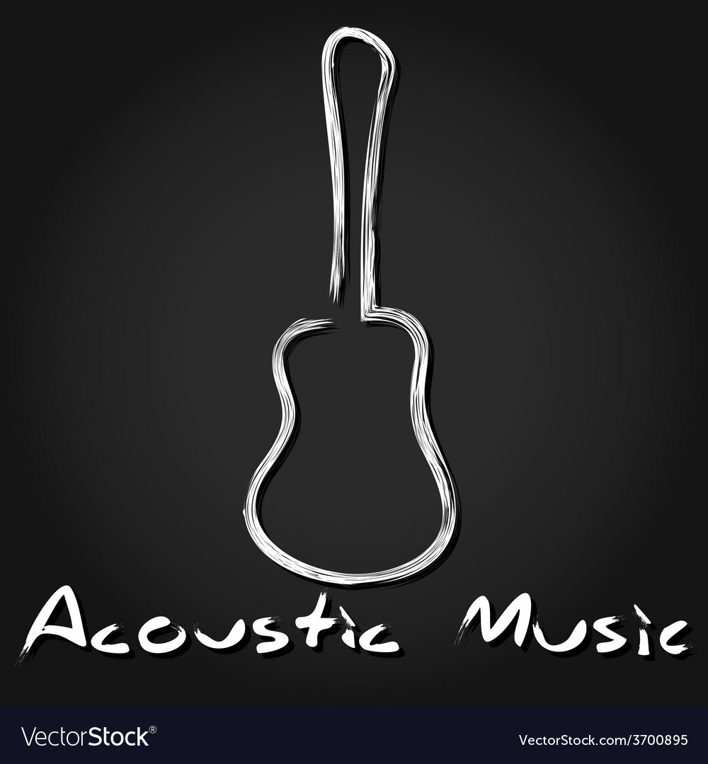 Hand drawn acoustic guitar vector image