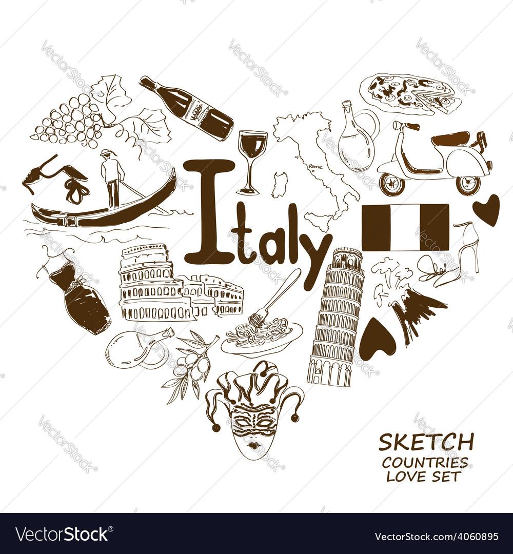 Italian symbols in heart shape concept vector image