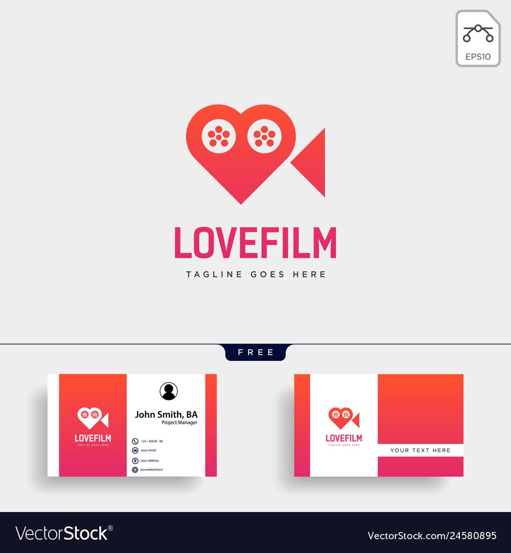 Love movie heart cinema film creative simple logo