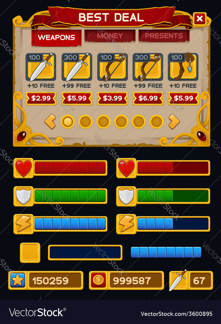 Medieval game GUI pack 5