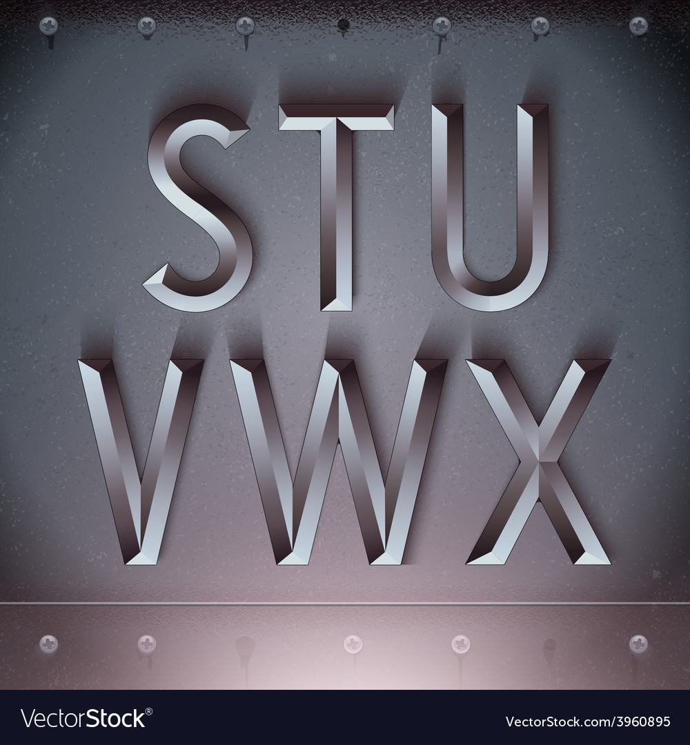 Metal Embossed Font from S to X vector image