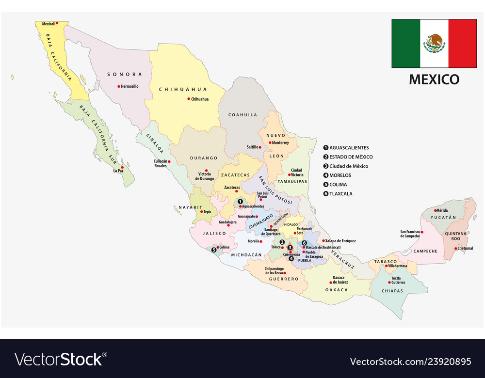 Mexico administrative and political map with flag