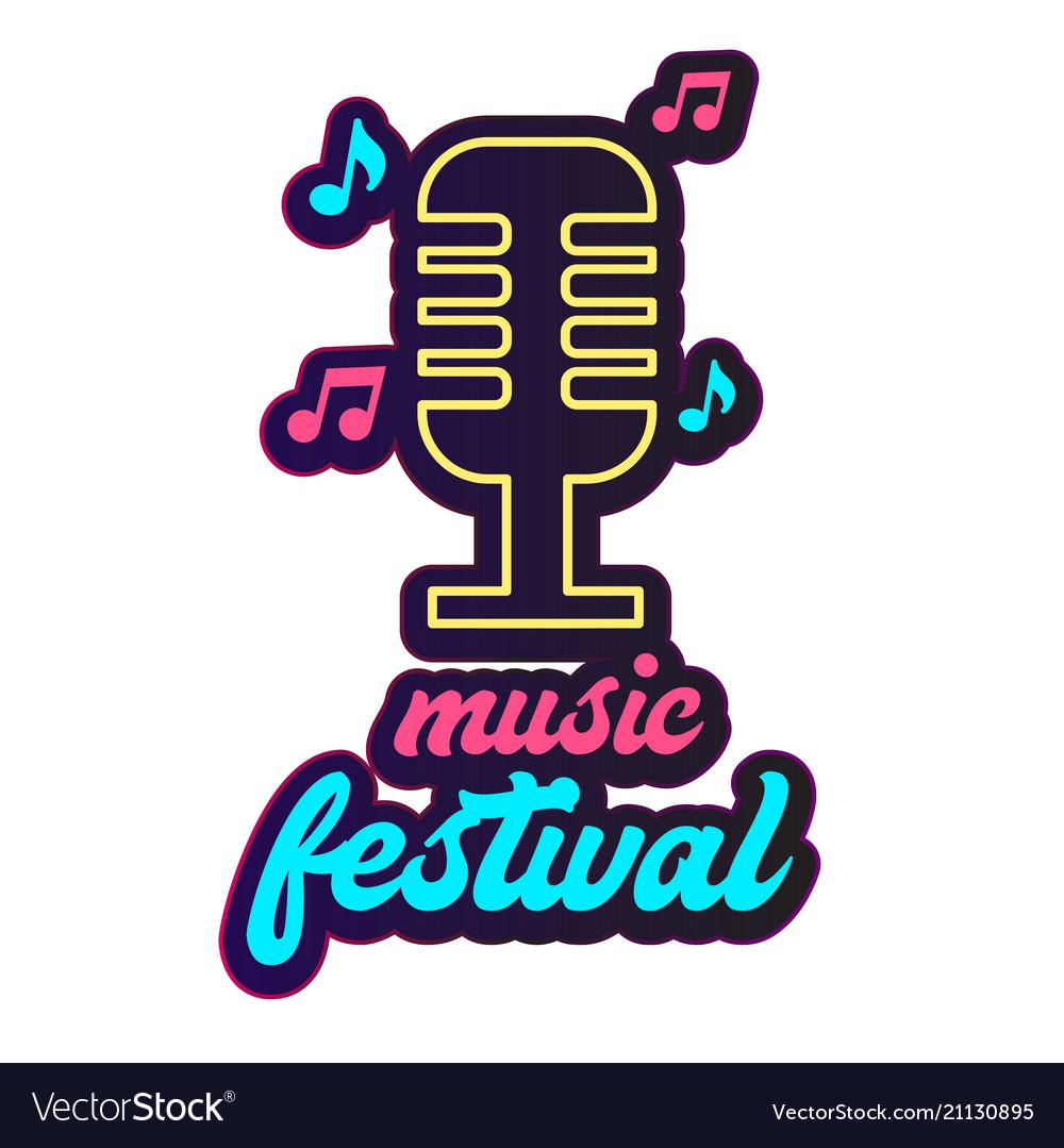 Neon music festival retro microphone background ve