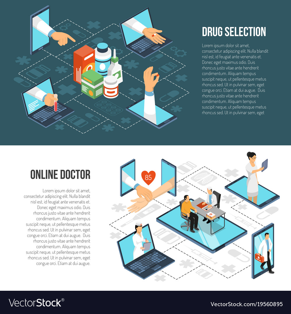 Online medical diagnosis isometric banners