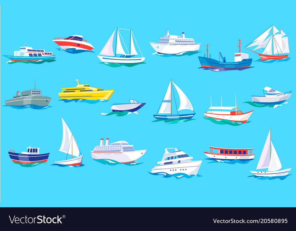 Sea ship boat and yacht set ocean or marine