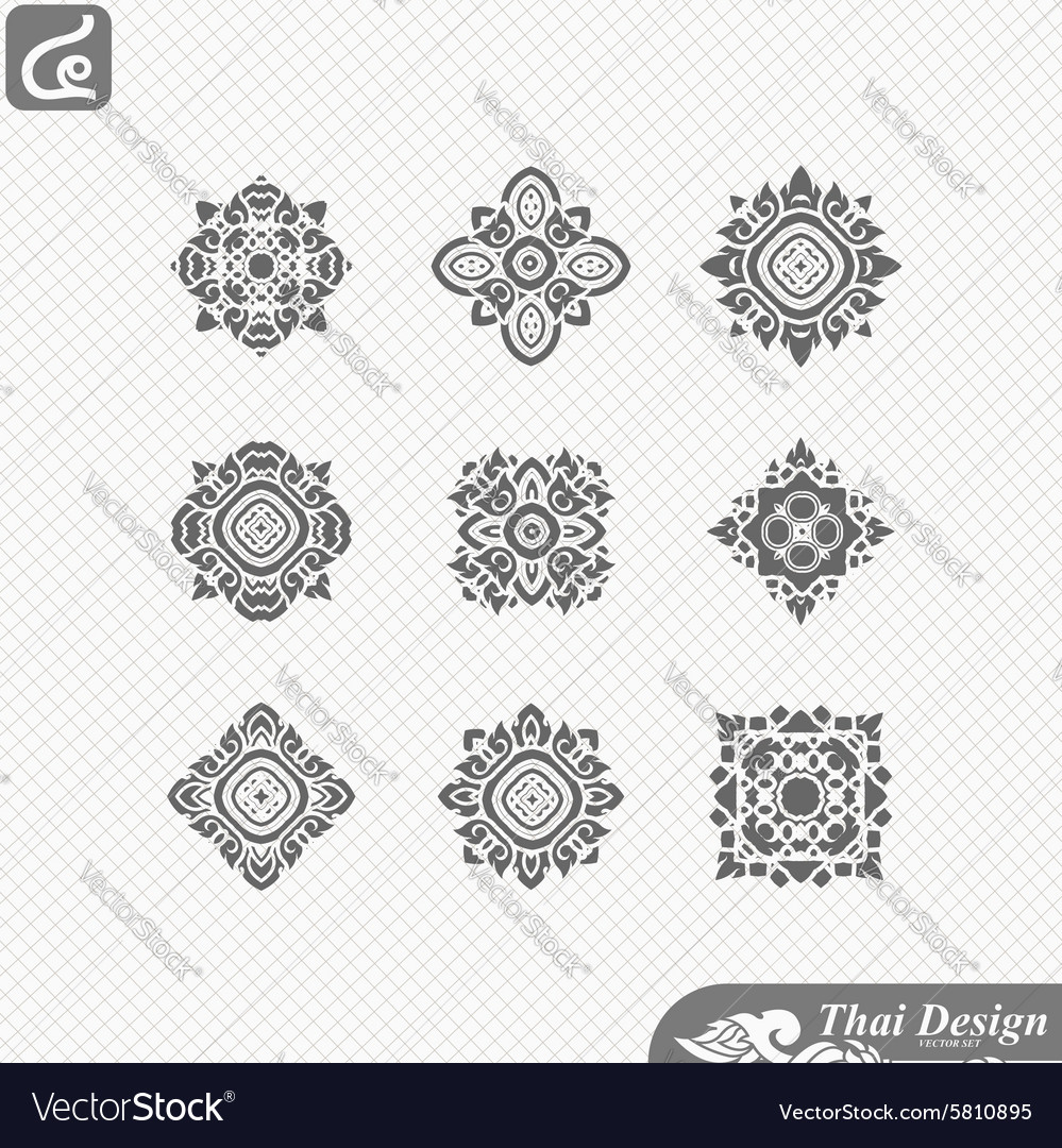 Set of Line thai art design
