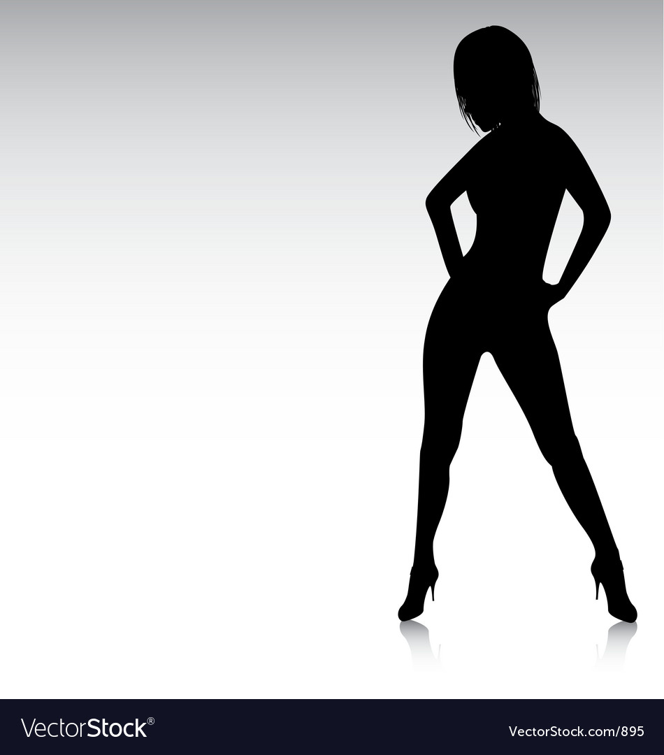 Sexy silhouette hands on hips vector image