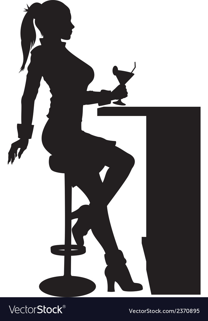 Silhouette woman sitting at the bar with cocktail