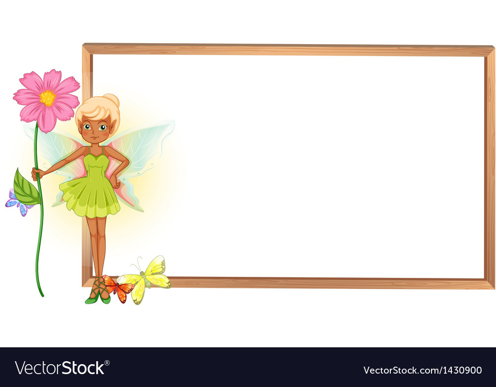 A fairy holding a flower in front of the empty