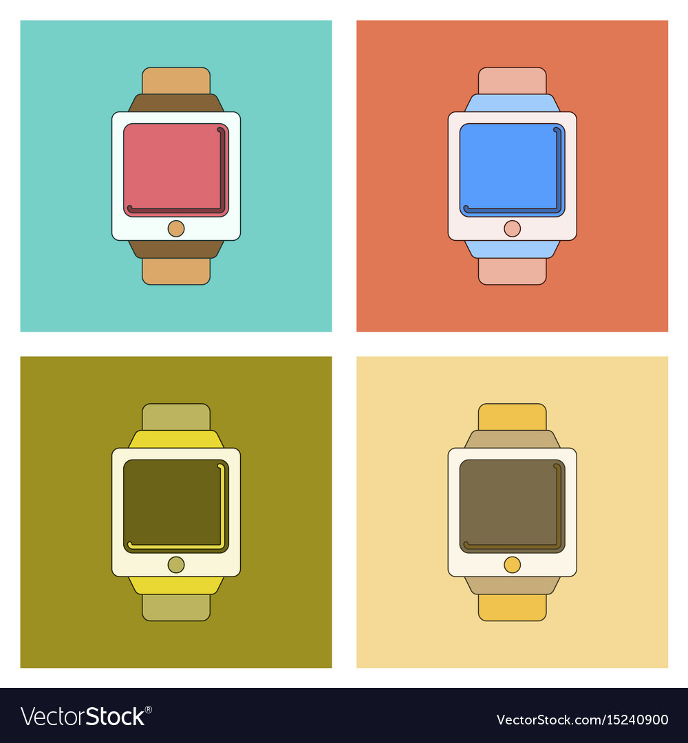 Assembly flat icon digital watch