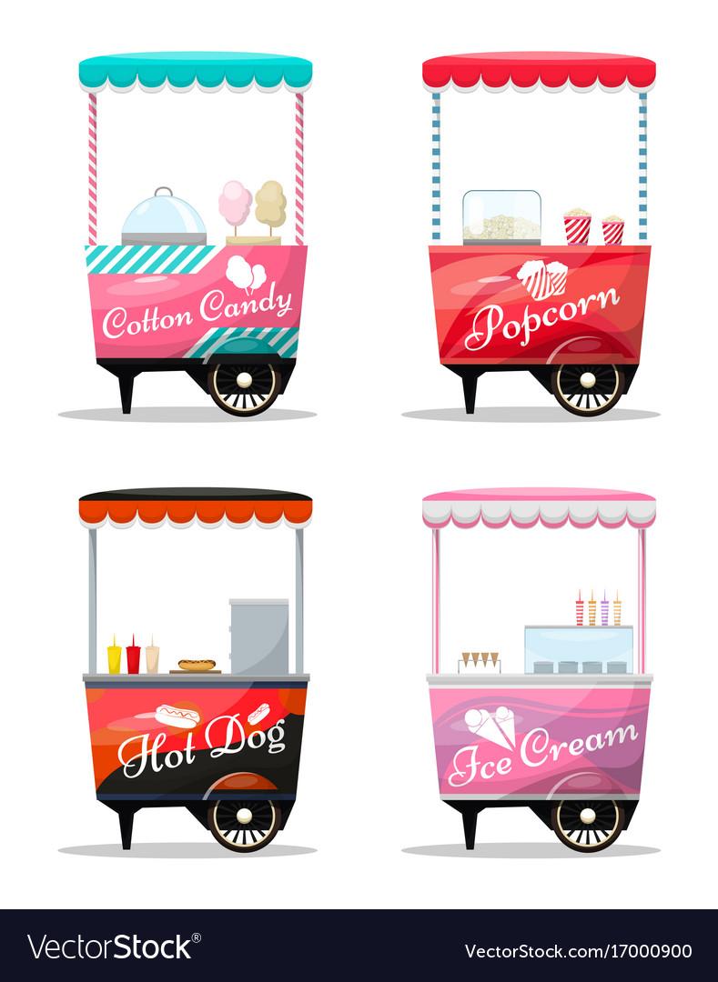Carts set retail popcorn cotton candy hot dog vector image