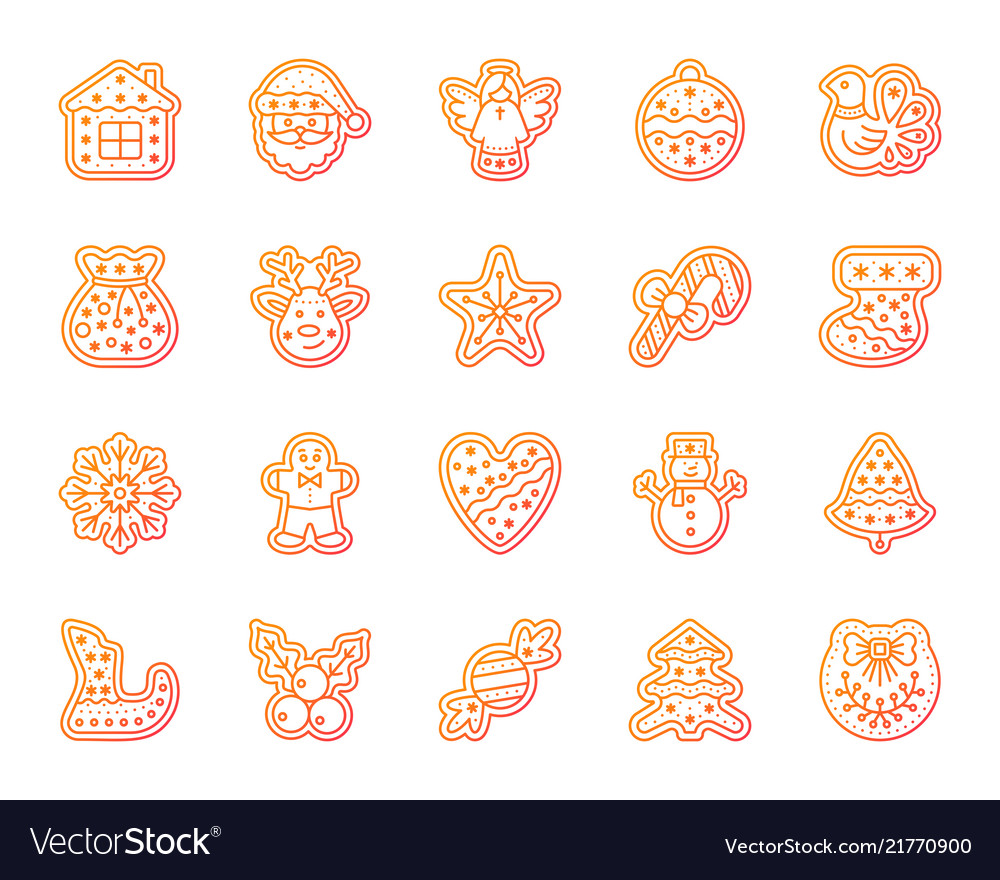 Christmas gingerbread simple line icons set