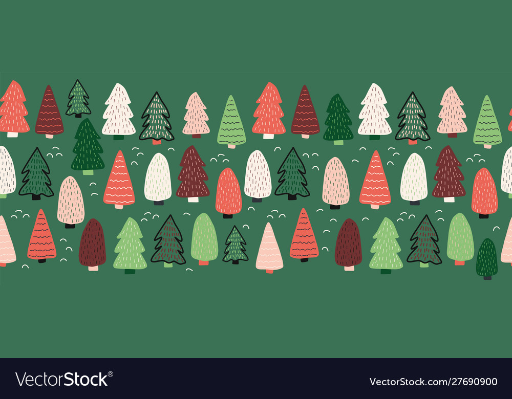 Christmas trees border seamless pattern