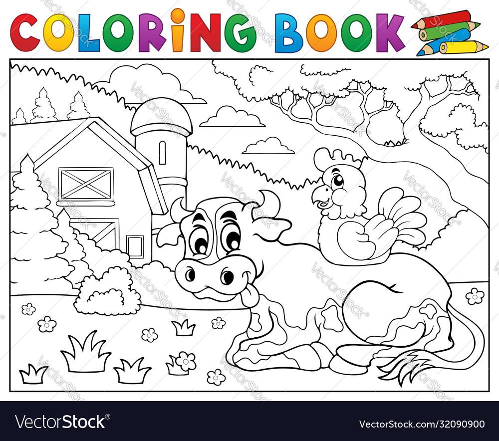 Coloring book cow near farm theme 3