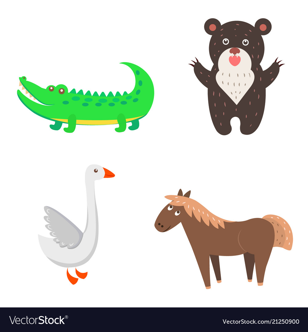 Concept of goose horse bear crocodile for kids