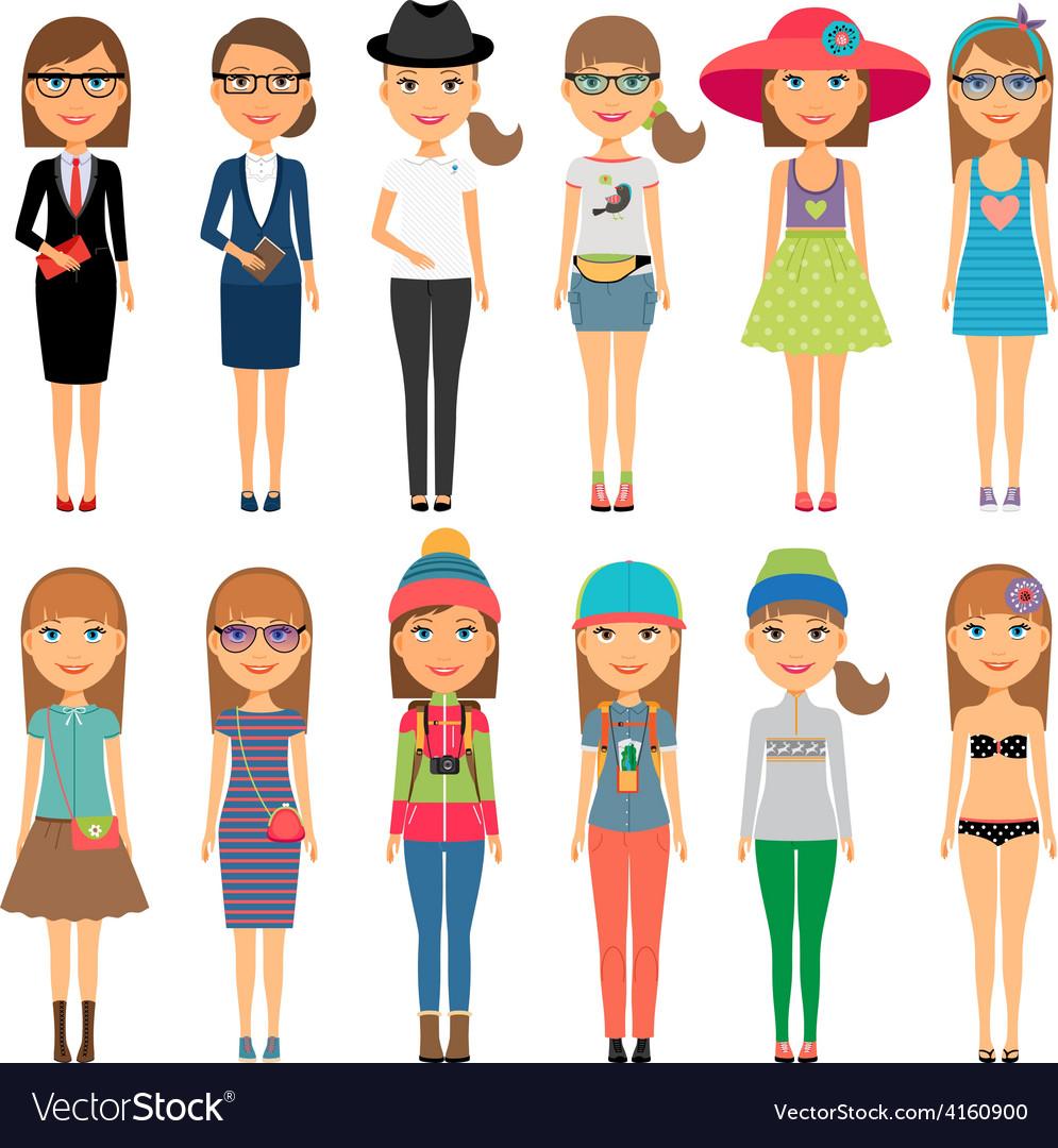 Cutie cartoon fashion girls in colorful clothes