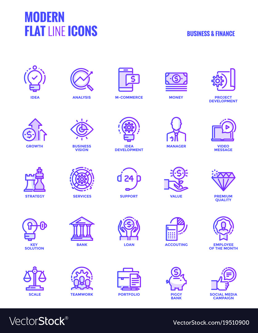 Flat line gradient icons design-business and