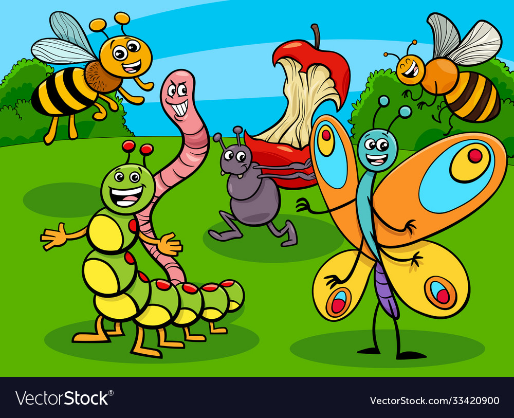 Funny insects and bugs cartoon characters group