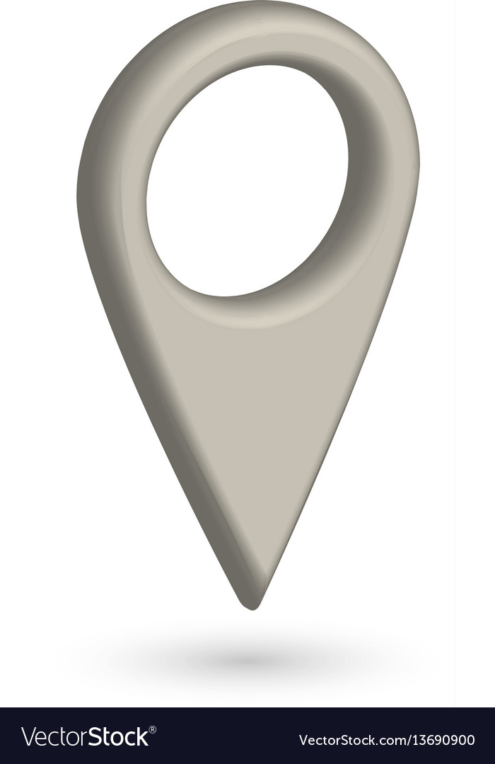 Grey 3d map pointer with dropped shadow on white