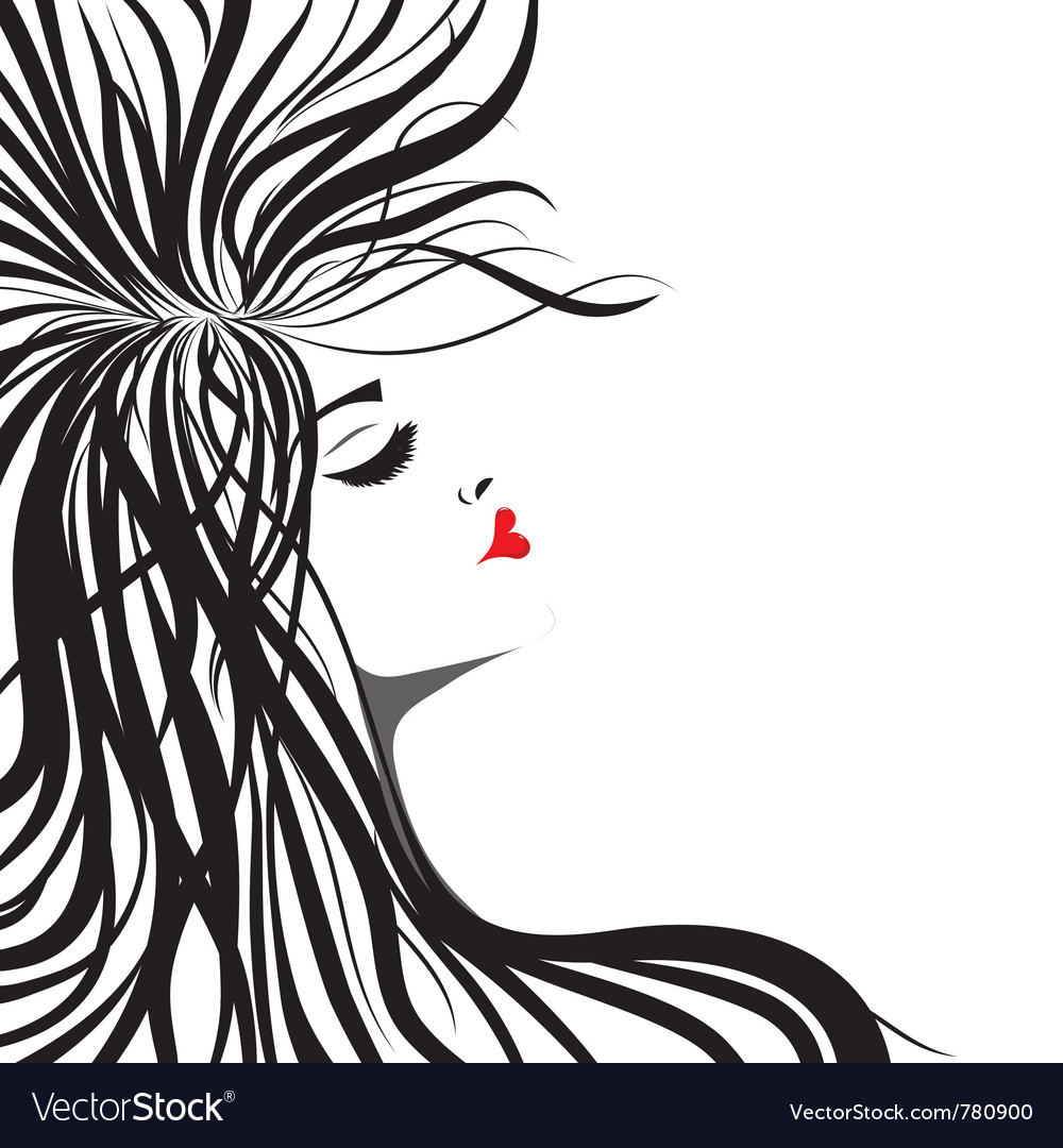Heart lips girl vector image