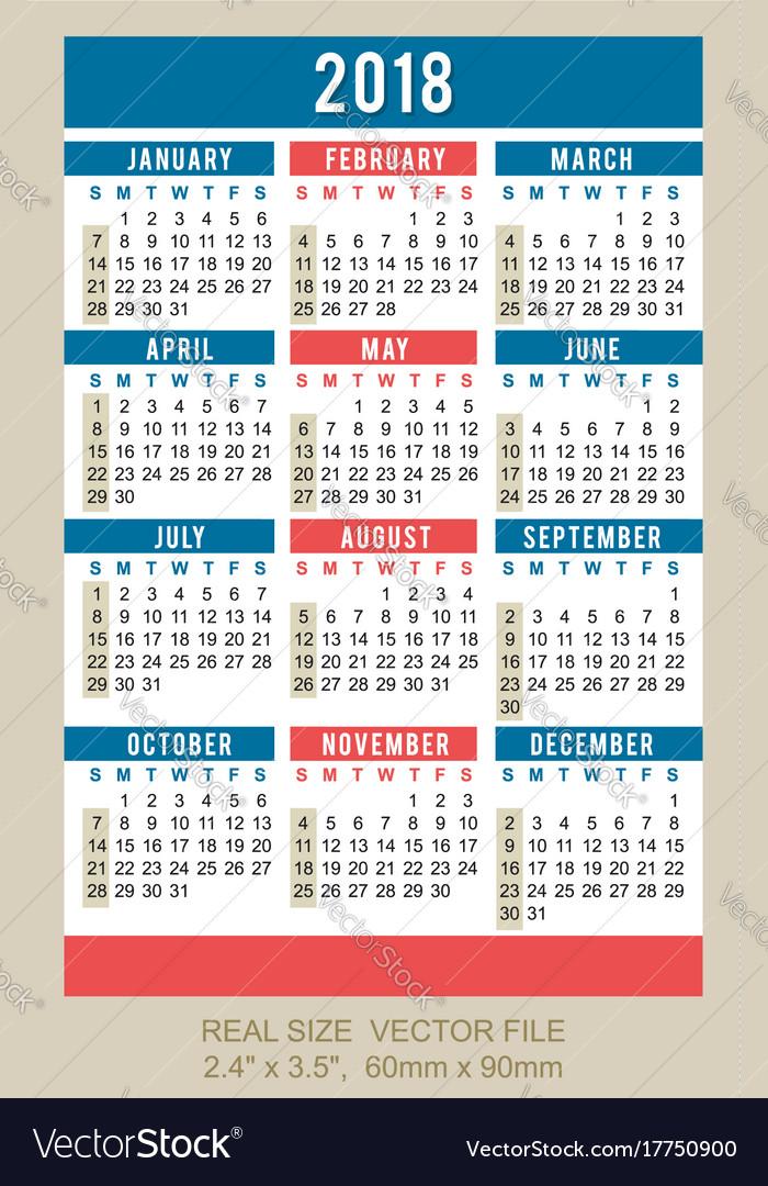 Pocket calendar 2018 start on sunday