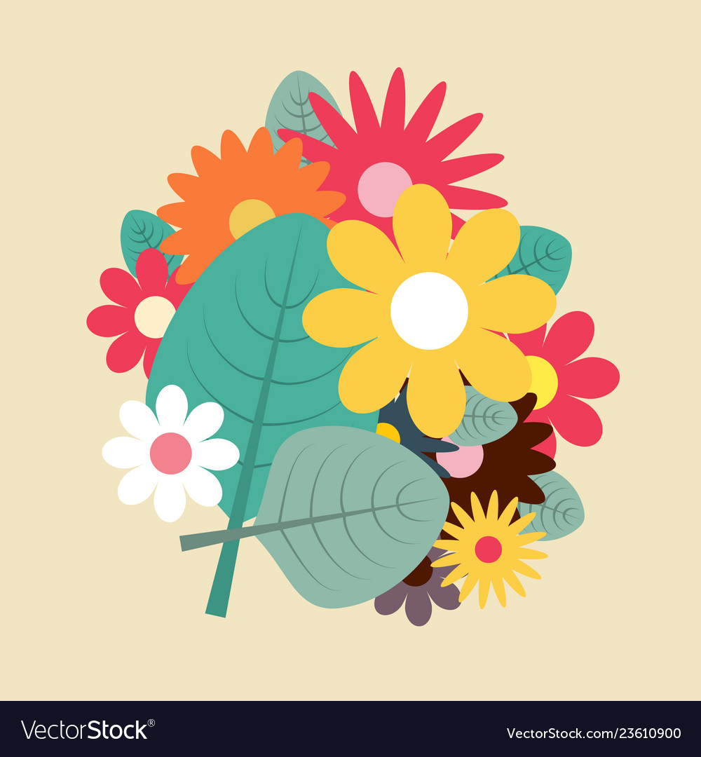 Spring Flowers Flat Design Royalty Free Vector Image