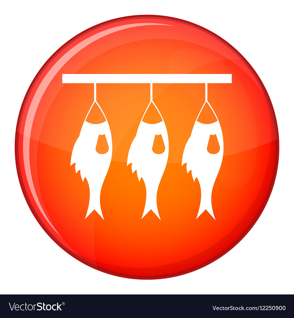 Three Dried Fish Hanging On A Rope Icon Royalty Free Vector