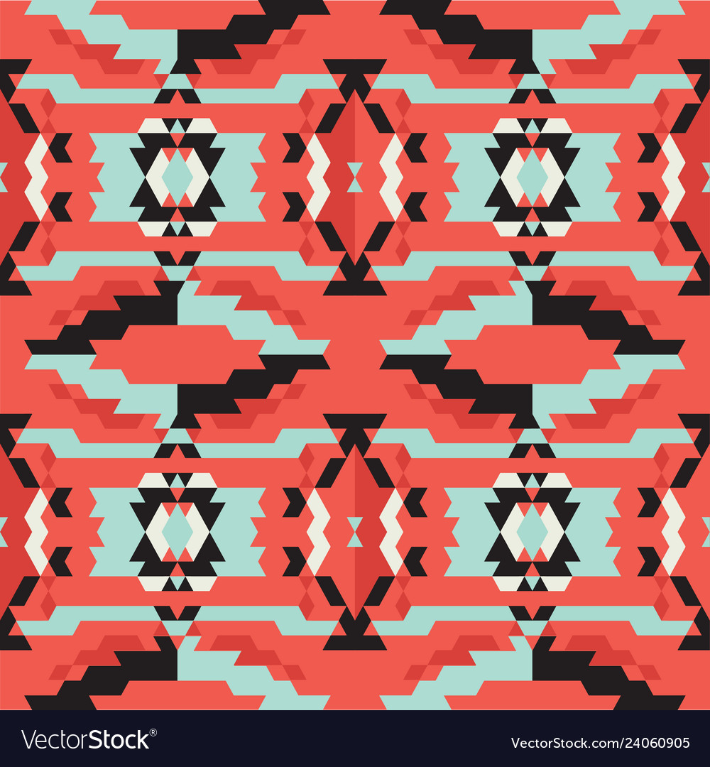 Aztec tribal black and blue and red pattern