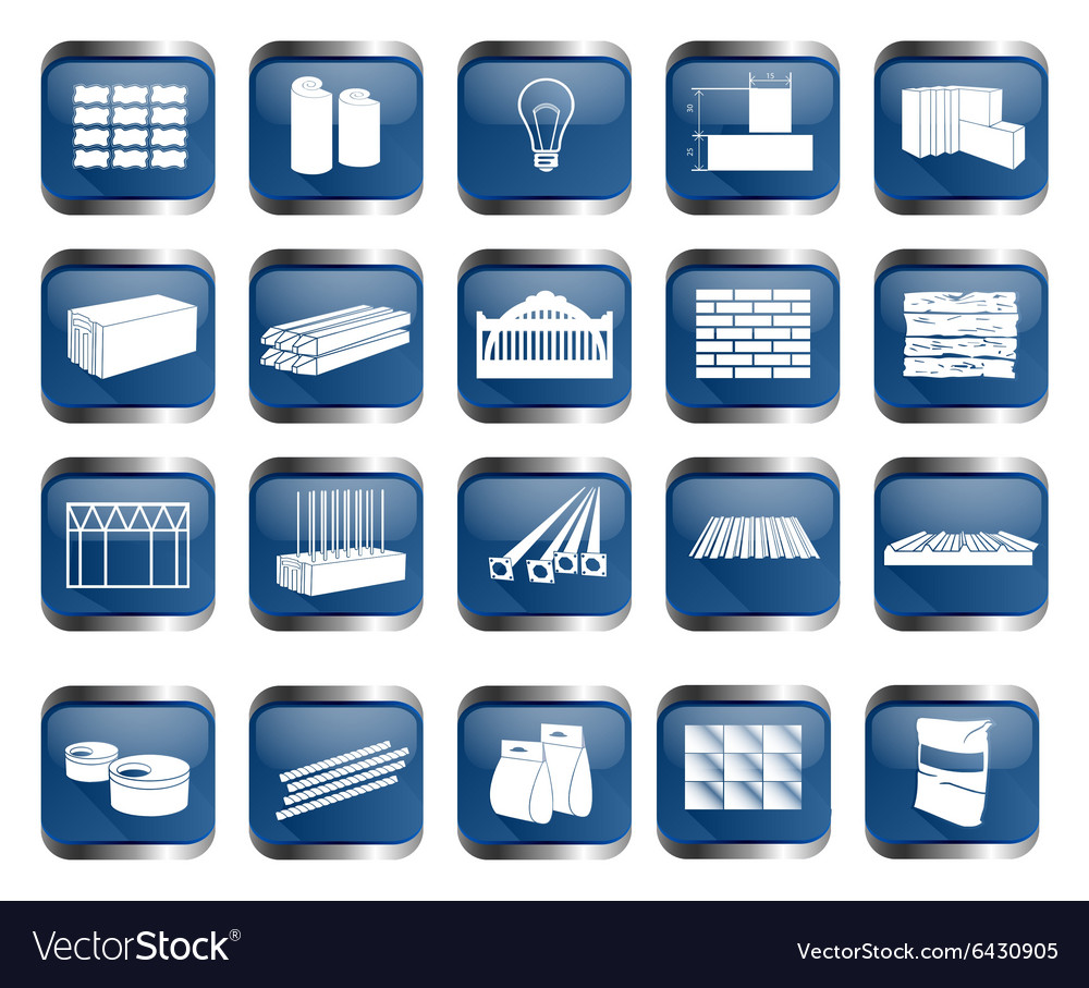 Building material icon set