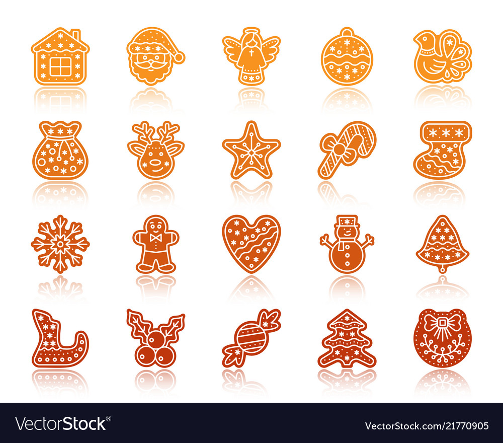 Christmas gingerbread silhouette icons set