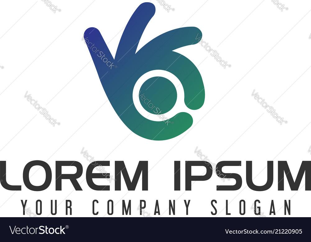 Hand finger logo design concept template