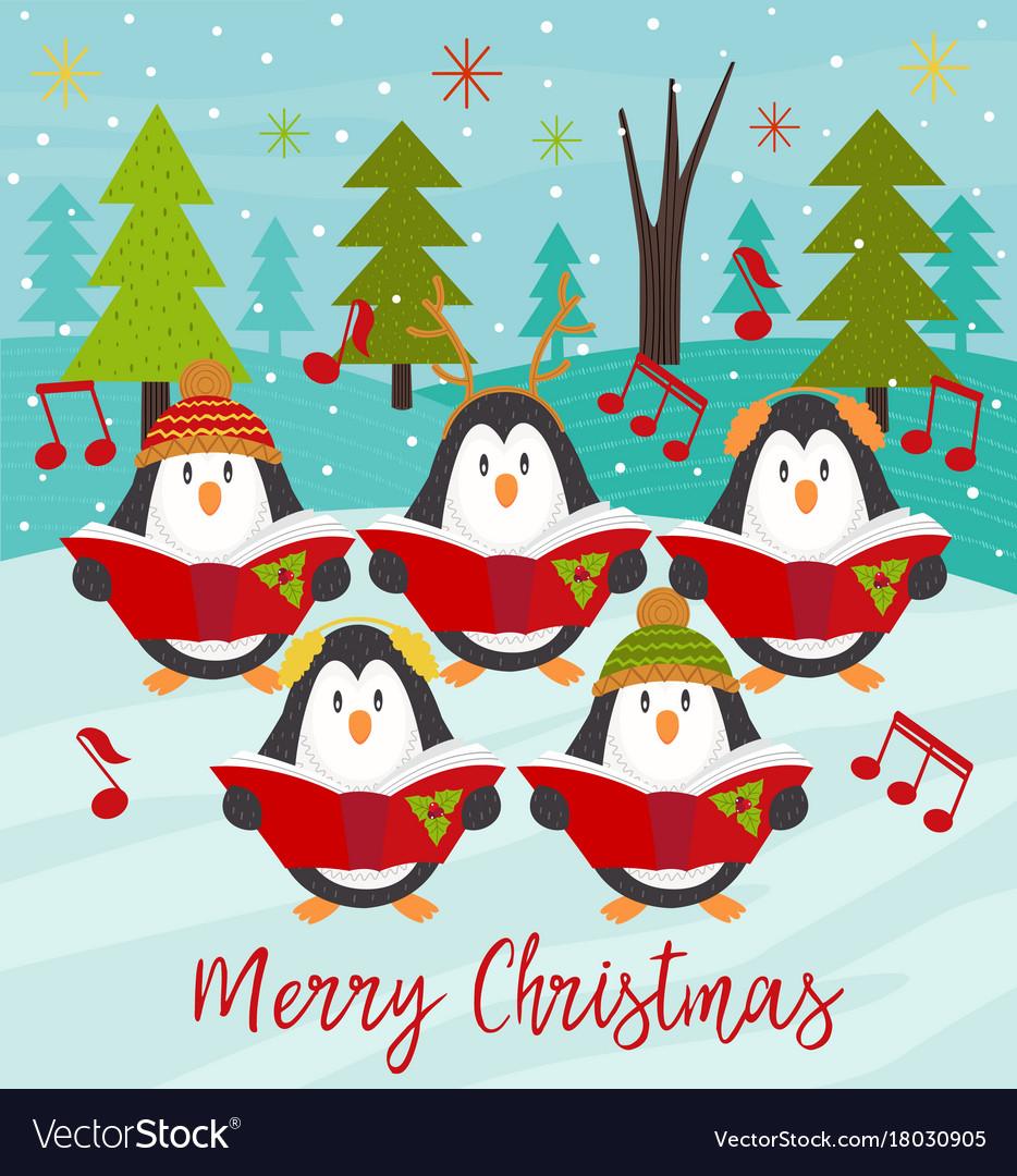 Christmas Choir.Merry Christmas Card With Choir Penguins