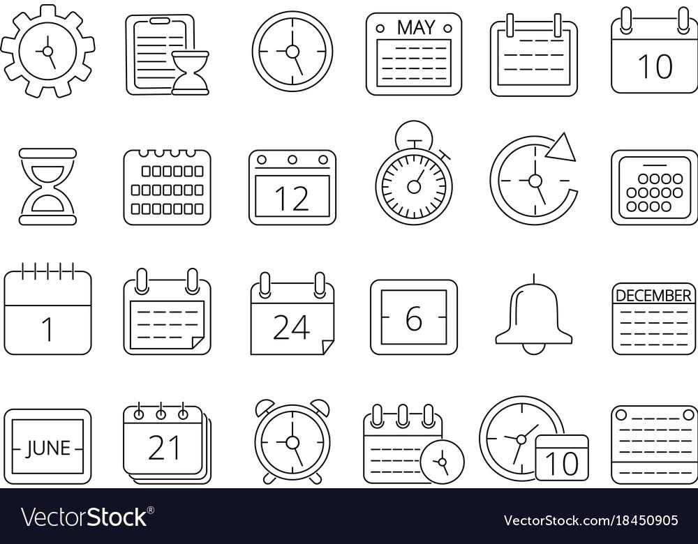 Mono line pictures set of time managements symbols